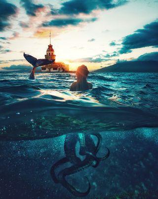 Обои на телефон подводные, стамбул, русалка, пузыри, океан, небо, море, закат, женщина