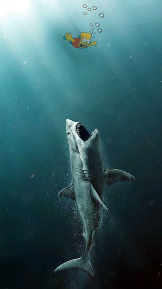 Обои на телефон акула, симпсоны, океан, забавные, вода, барт, humour
