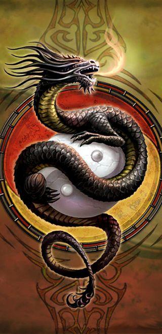 Обои на телефон янь, китай, символ, логотипы, дракон, ying yang dragon, dragon