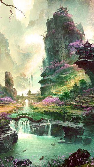 Обои на телефон рай, фантазия, природа