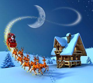 Обои на телефон санта, счастливое, снег, рождество, ночь, зима, дом, christmas night
