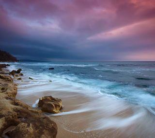 Обои на телефон вечер, природа, пляж, море, камни, закат, вода