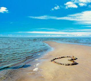 Обои на телефон синие, сердце, пляж, песок, небо, море, любовь, камни, берег, love