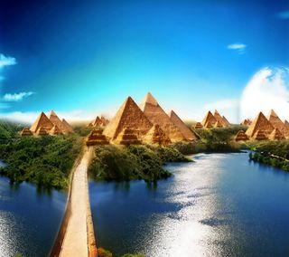 Обои на телефон пирамида, египет, фантазия