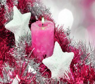 Обои на телефон свеча, розовые, рождество, праздник, зима