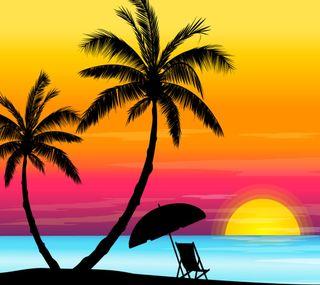 Обои на телефон лето, природа, пляж, море, закат, векторные, абстрактные, beach sunset