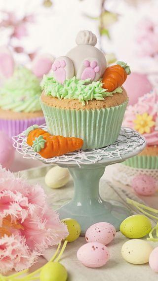 Обои на телефон яйца, празднование, цветы, цветные, украшение, пасхальные, кекс