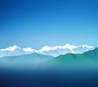 Обои на телефон силуэт, снег, синие, горы, белые, mbaykus, hohor
