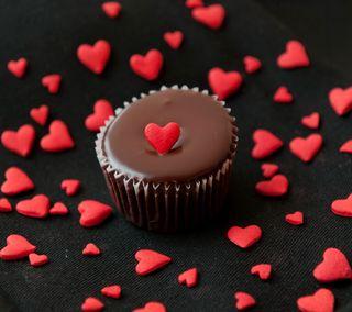 Обои на телефон шоколад, сердце, романтика, милые, любовь, кекс, love