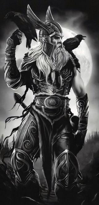 Обои на телефон вороны, воин, бог, odin and his ravens, odin, note 8, norse god, myth, man