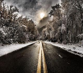 Обои на телефон зима, дорога, бесконечность, winter hd, infinity