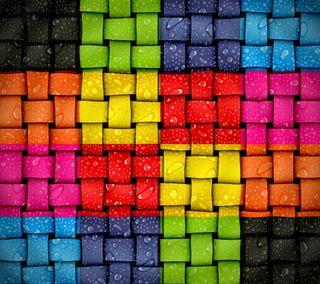 Обои на телефон квадраты, цветные, мокрые, капли, вода