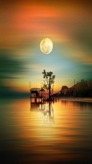 Обои на телефон озеро, луна, закат