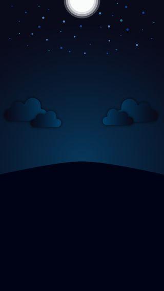 Обои на телефон выемка, черные, темные, синие, луна, градиент, абстрактные, hd, a50, 4k