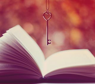 Обои на телефон ключ, сердце, открыто, книга, боке