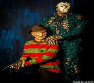 Обои на телефон friday the 13th, nightmare on elm st, halloween portrait, хэллоуин, кошмар, портрет, пятница, джейсон, фредди