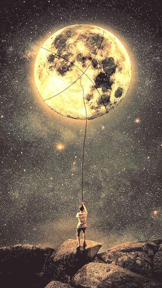 Обои на телефон мир, луна, бок