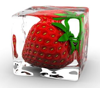 Обои на телефон лед, куб, клубника, 3д, 3d