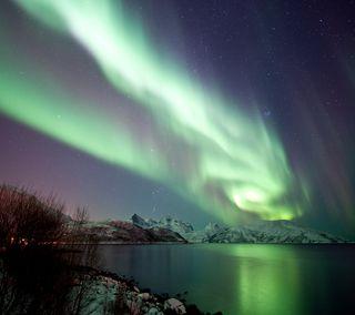 Обои на телефон аврора, снег, северный, озеро, огни, лед, зима, northern lights