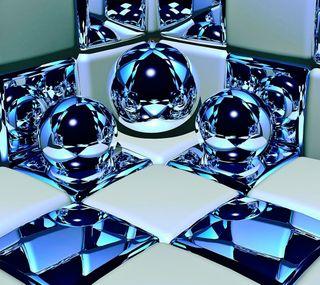 Обои на телефон кубы, шары, синие, круги, абстрактные, 3д, 3d circles, 3d