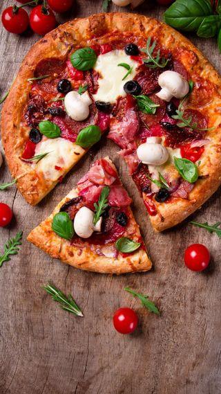 Обои на телефон пицца, еда, грибы, tomatoes, pepproni