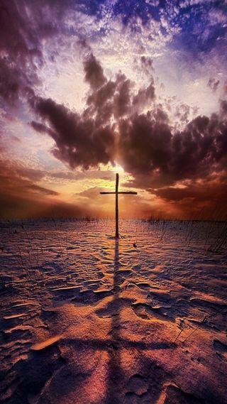 Обои на телефон христос, христианские, тень, песок, облака, крест, исус, закат, бог, son of god