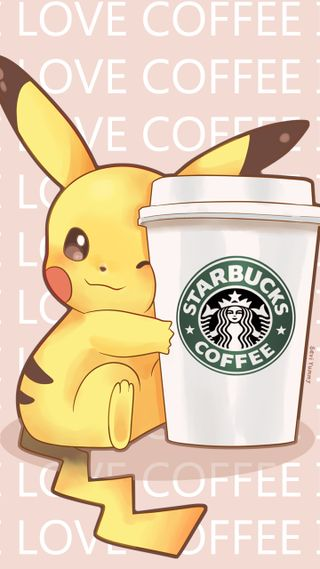 Обои на телефон electric rat, give me, love coffee, now, pikakawaii, любовь, милые, я, кофе, пикачу, каваи, электрические, помощь, старбакс