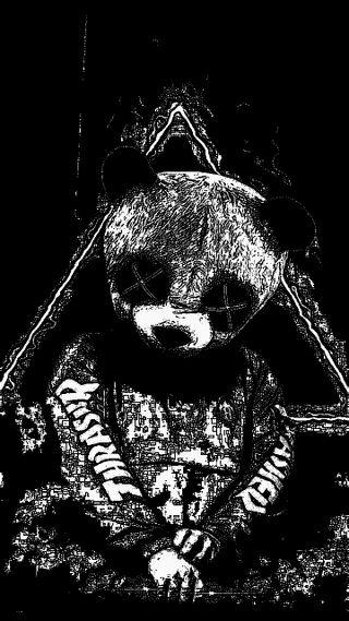 Обои на телефон панда, черные, trashyp