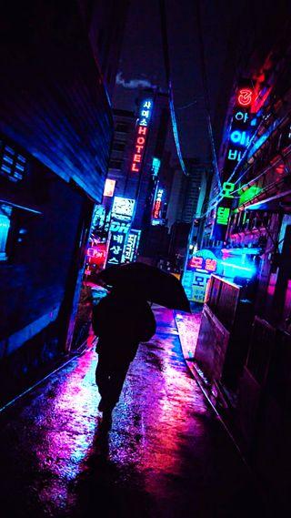 Обои на телефон городские, улица, нуар, ночь, неоновые, красочные, дождь, город, айфон, iphone, hd