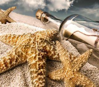 Обои на телефон сообщение, раковина, пляж, океан, море, звезда, закат, бутылка, hd, 2013