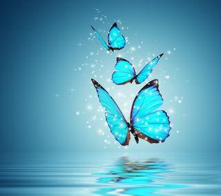 Обои на телефон синие, вода, бабочки, абстрактные, blue butterflies