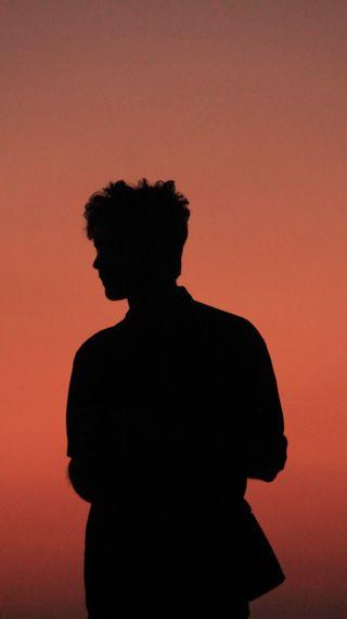 Обои на телефон тень, черные, пляж, оранжевые, любовь, каникулы, закат, love, a sunset
