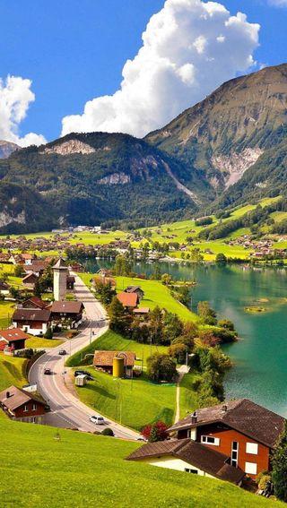 Обои на телефон озеро, природа, пейзаж, небо, горы