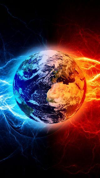 Обои на телефон природа, планета, огонь, лед, абстрактные, outerspace