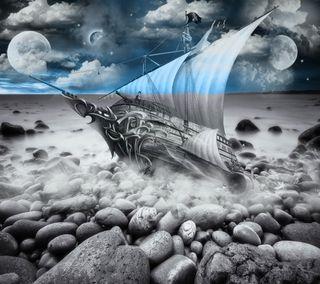 Обои на телефон берег, черные, фантазия, планеты, пейзаж, облака, космос, корабли, камни, камешки, fantasy landscape