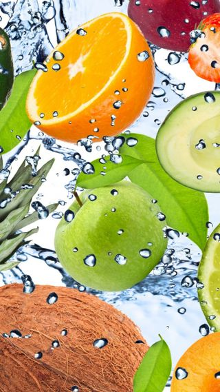 Обои на телефон свежие, фрукты, вода, fruitfreshwater