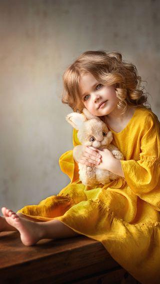 Обои на телефон кролик, щенки, платье, милые, маленький, желтые, девушки, восхитительные, блондинки, yellow dress, little girl, hd