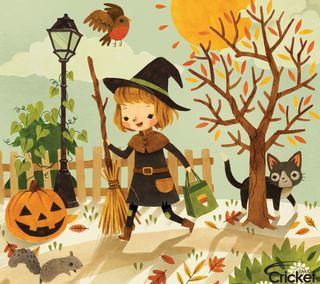 Обои на телефон дети, хэллоуин, маленький, крикет, дизайн, ведьма, арт, zedgehallow, little witch, art