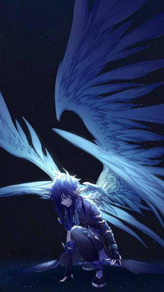 Обои на телефон новый, мальчик, крылья, аниме, new anime