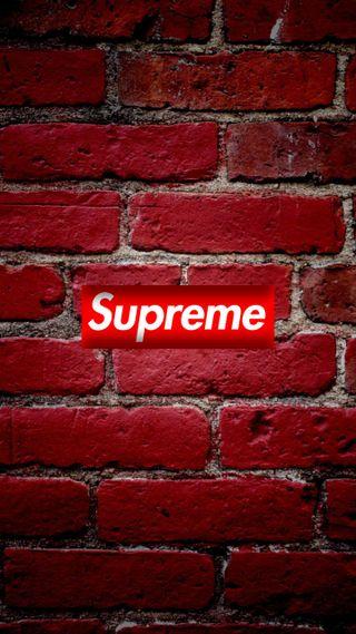 Обои на телефон кирпичи, стена, минимализм, логотипы, красые, бренды, supreme, hypebeast