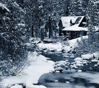 Обои на телефон хижина, природа, зима
