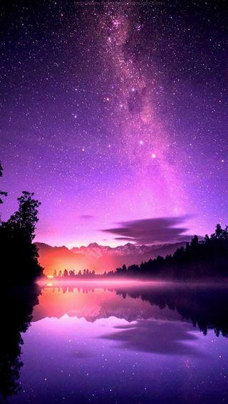 Обои на телефон путь, природа, пейзаж, озеро, небо, молоко, звезды, nature landscape, milk way