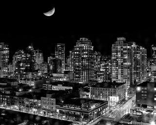 Обои на телефон здания, черные, темные, огни, канада, британский, белые, vancouver