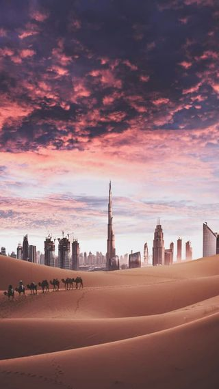 Обои на телефон архитектура, современные, пустыня, здания, дубай, город, бурдж, башня, dunes, burj khalifa