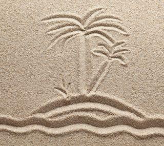 Обои на телефон палец, пляж, песок, пальмы, каникулы, знаки