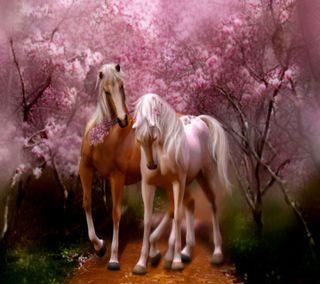 Обои на телефон romantic horses, природа, приятные, прекрасные, цветы, животные, романтика, пара, лошадь, лошади