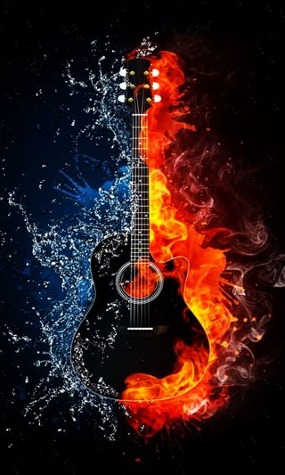 Обои на телефон гитара, огонь, музыка, вода