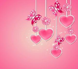 Обои на телефон валентинки, сердце, розовые, любовь, дизайн, валентинка, бриллианты, бабочки, valentines by marika, love