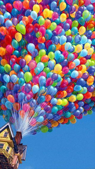 Обои на телефон шары, фильмы, фильм, полет, дом, дисней, ветер, up, flying house, disney