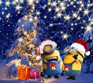 Обои на телефон счастливое, рождество, мультики, миньоны, зима, 1440x1280px